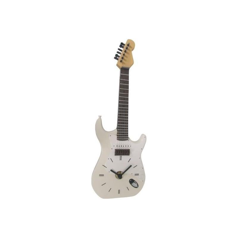 Reloj pared 36 cm guitarra blanca