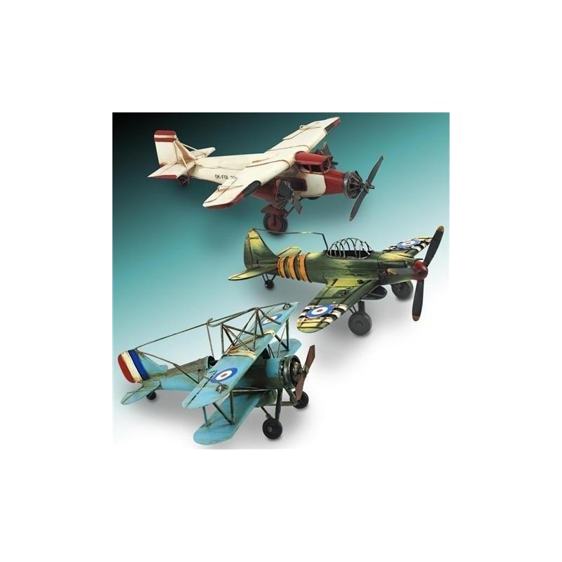 Figura Avion Retro Metal 33 cm Surtida (1 unidad)