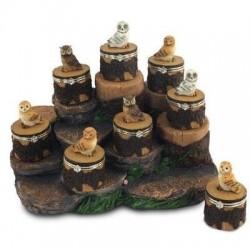 Figura Buho  x8 Modelos con Caja 5 cm