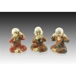 Figura Resina x3 Monjes Budistas 7 cm