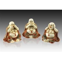 Figura Resina x3 Monjes Budistas 8 cm