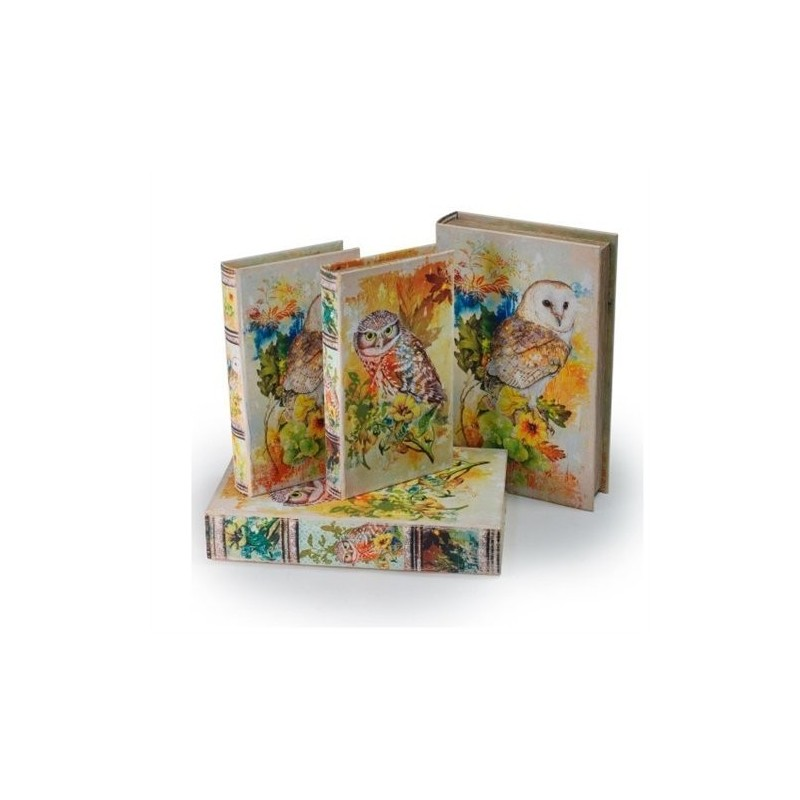 Set 2 Cajas Libro Buho 26x17 cm