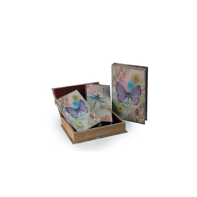 Set 2 Cajas Libro Mariposa  26x17 cm