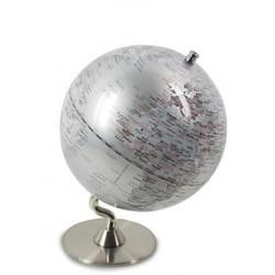 Globo Terraqueo 13 cm Plateado con Peana