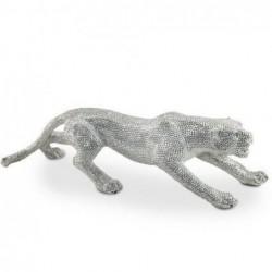 Figura Leopardo Plateado Resina 83 cm