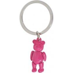 Llavero oso rosa metal 4 cm