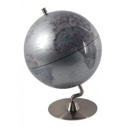 Globo Terraqueo 25 cm Plateado con Peana