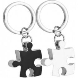 Pack 2 llaveros piezas puzzle blanco/negro