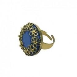 Anillo Abierto Bisuteria Azul 3 cm