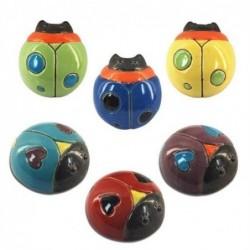 Figura x6 Ceramica Escarabajo Colores 9 cm