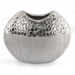 Candelabro de Ceramica Plateado 16x21 cm