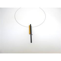 Gargantilla en aro de acero y 3 piezas rectas