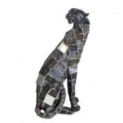 Figura Resina Leopardo Plateado 42 cm