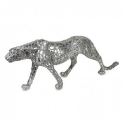 Figura Resina Leopardo Plateado 75 cm