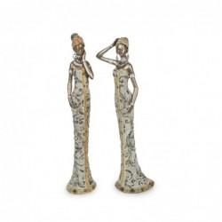 Figura x2 Mujer Africana Resina 39 cm