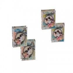 Caja Libro x4 Modelos Gatos 14x10 cm