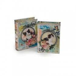 Caja Libro x2 Modelos Gatos 17x12 cm