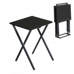Mesa Juego 2 unidades Negras Plegables 51 cm