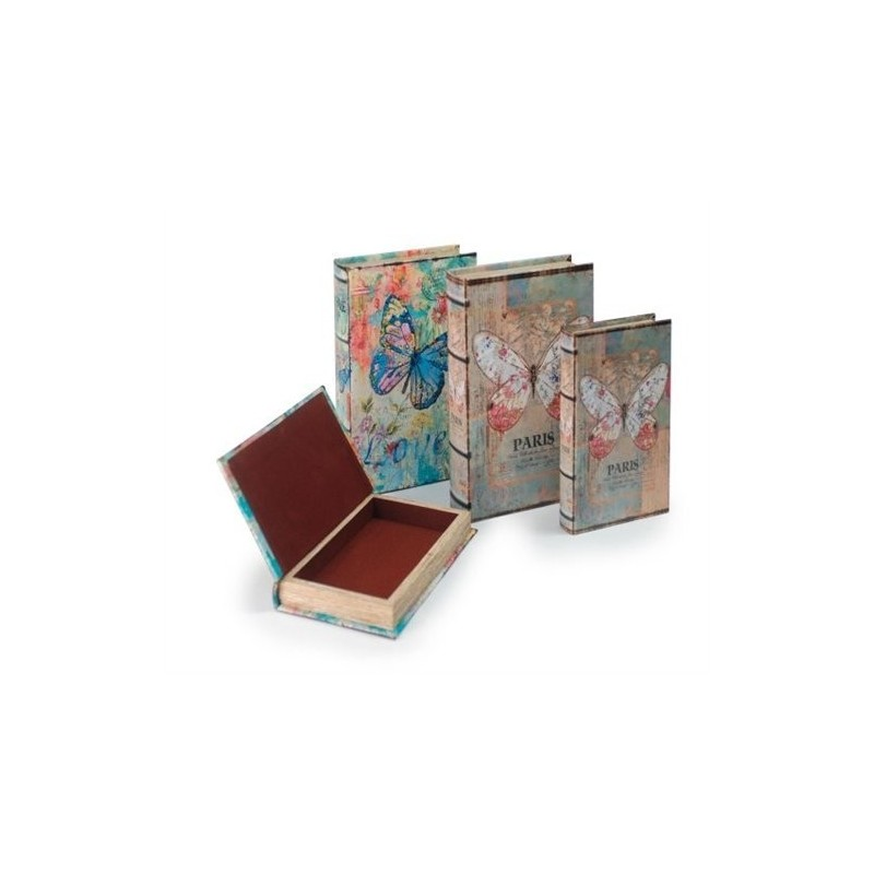 Set 2 Cajas Libro Mariposa  26x17 cm Surtido ( 1 set)