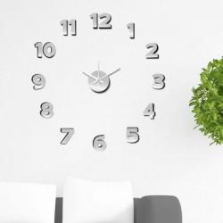 Reloj de Pared Numeros Adhesivos Plata 60 cm