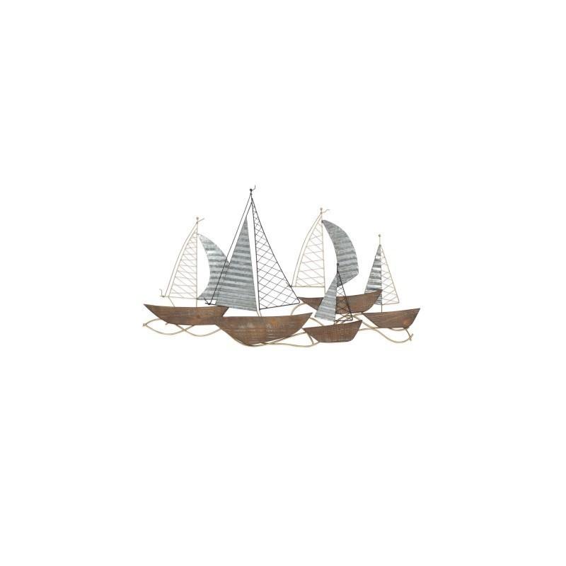 Adorno Pared Barcos Metal 83 cm