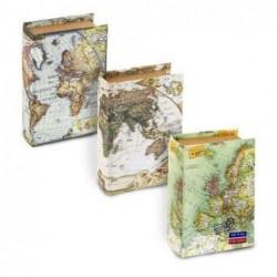 Caja Forma Libro x3 Modelos Mapas 14 cm