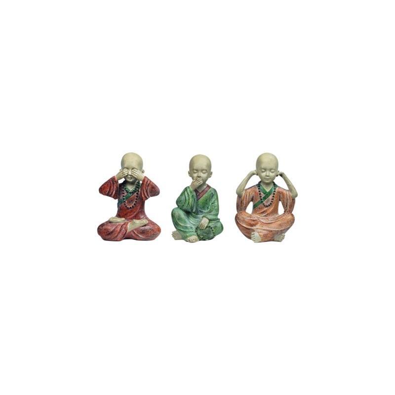 Figura Buda x3 Colores 13 cm