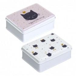 Caja Metal Cat Lover Juego 2 Unidades 10 cm