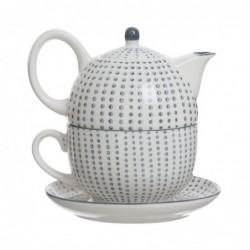 Tetera y Taza Ceramica Topos