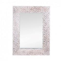 Espejo Pared Madera Blanco 60 x45 cm