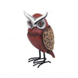 Figura Buho Resina Rojo 12 cm
