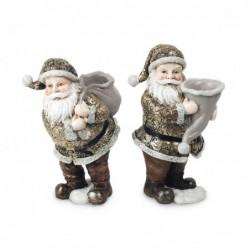 Figura Resina x2 Papa Noel 16 cm