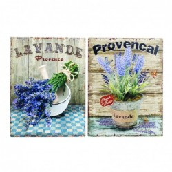 Placa Pared Decorativa x2 Lavanda 33x25 cm