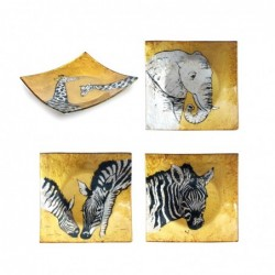 Plato Cuadrado x4 Animales 15 cm