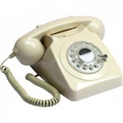 TELEFONO VINTAGE 70s GIRATORIO BEIGE 21x16x14cm