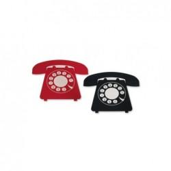 Posavasos Set 4 Unidades Telefono NEgro 12 cm