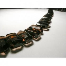 Tira de Collar deCuarzo Ahumado40cmformas geometricas facetadas21mm x 13mm