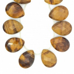 Tira de Collar Ojo de Tigre40cmlagrimas facetadas30mm x 21mm