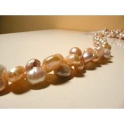 Tira de Collar Perla Cultivada rojiza40cmdoble oval15mm x 10mm