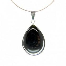 Colgante Lagrima de Obsidiana - Ba–o de Plata