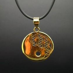Colgante Yin Yang con Flor de la Vida de Bronce