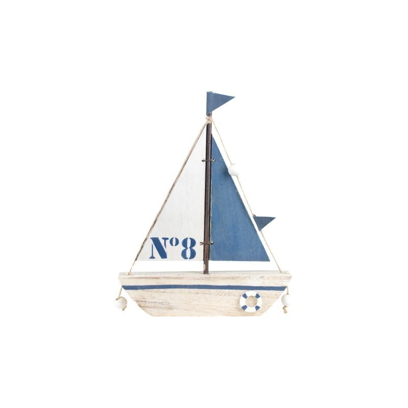 Figura Decorativa Barco Azul 21 cm