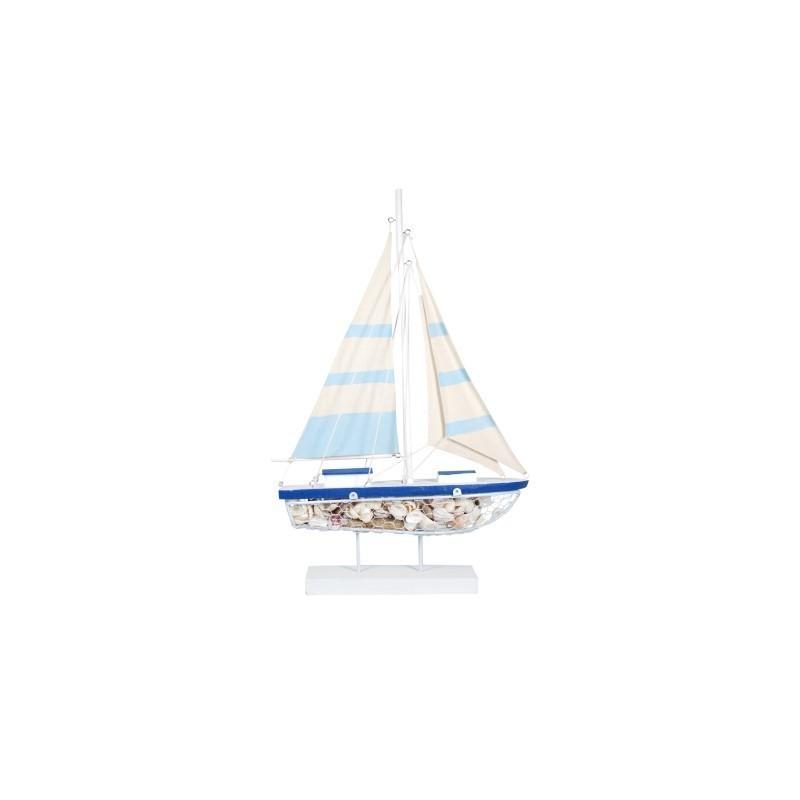 Figura Decorativa Barco Azul 71 cm