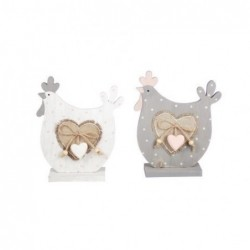 Figura Decorativa x2 Gallinas 16 cm