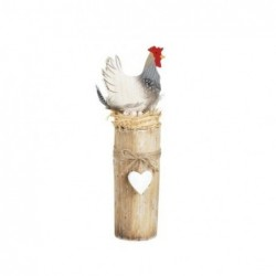Figura Madera Gallo Con Base 30 cm