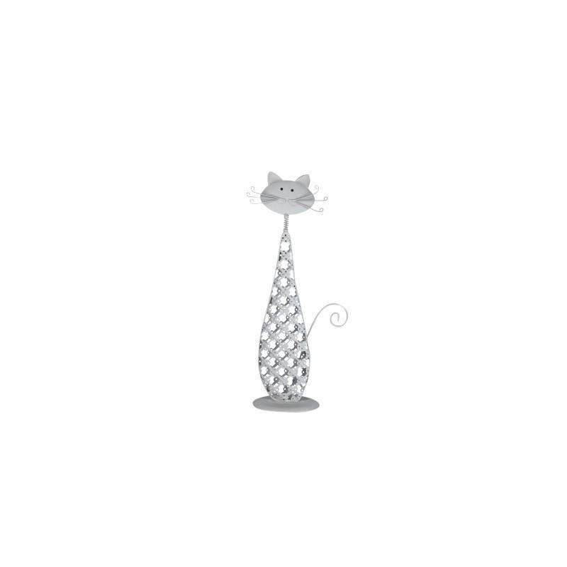 Figura Metal Gato Gris 26 cm