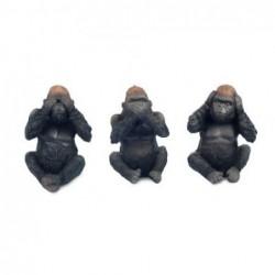 Figura Resina x3 Gorilas Budistas 12 cm