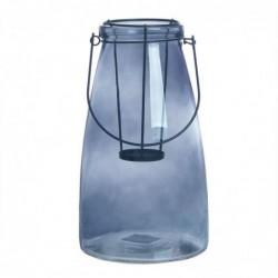 Candel Cristal Portavela Azul 26 cm