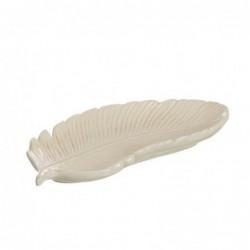 Centro de Mesa Hoja Ceramica Blanco 20 cm