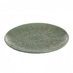 Centro Mesa Ceramica Redondo Verde 25 cm